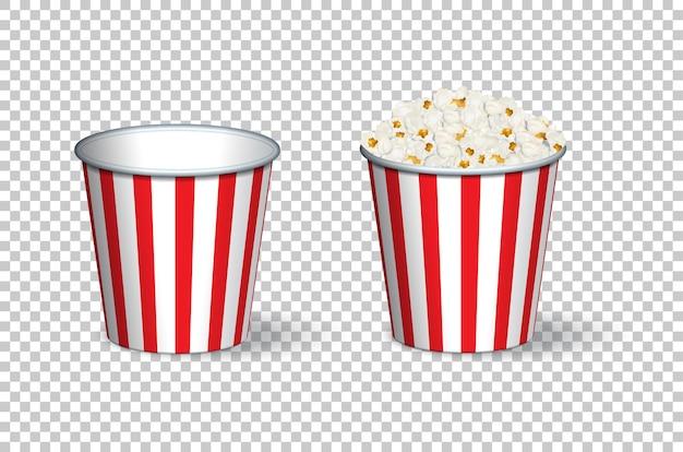 Secchi di popcorn vuoti e pieni isolati su sfondo trasparente