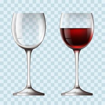 Concetto realistico del bicchiere di vino vuoto e pieno
