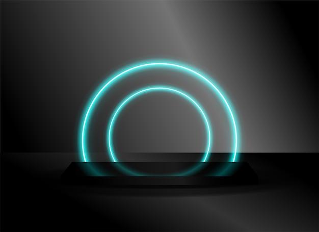 Scena scifi futuristica vuota con bagliore al neon cerchio sullo sfondo.