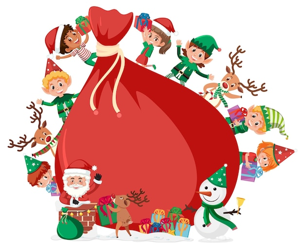 Sacchetto regalo vuoto con tanti bambini in tema natalizio
