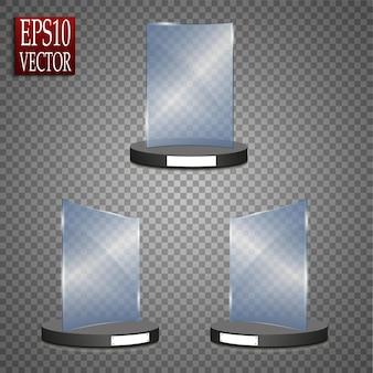 Premio di vetro vuoto isolato, modello trofeo trasparente.