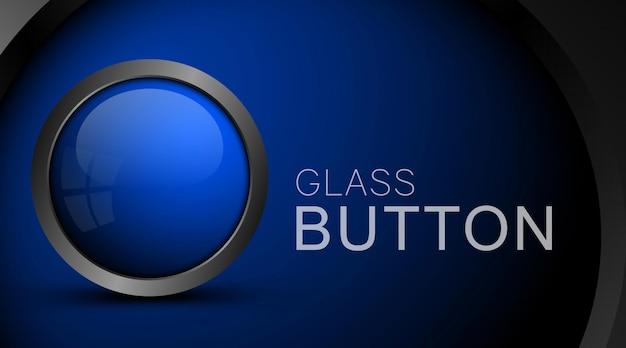 Modello vuoto del bottone di vetro sul blu