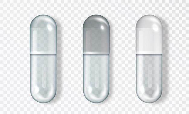 Insieme vuoto della capsula di vetro, isolato. l'icona medica della pillola di vettore ha messo 3d realistico. capsule per mockup grafici. concetto medico e sanitario.