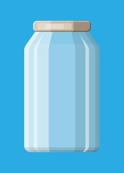 Vaso di vetro vuoto per conserve e conserve. bottiglia di vetro con coperchio isolato su sfondo blu. contenitore in plastica per liquidi. illustrazione vettoriale in stile piatto