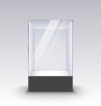 Vetrina vuota in vetro su piedistallo. la scatola di vetro del museo ha isolato la pubblicità o la boutique di design aziendale.