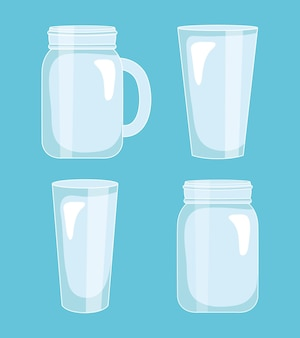 Set di bicchieri vuoti