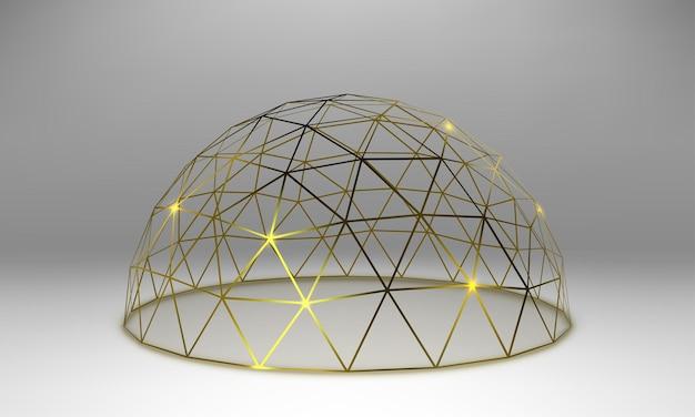 Cupola dorata vuota. gabbia sferica astratta di vettore.