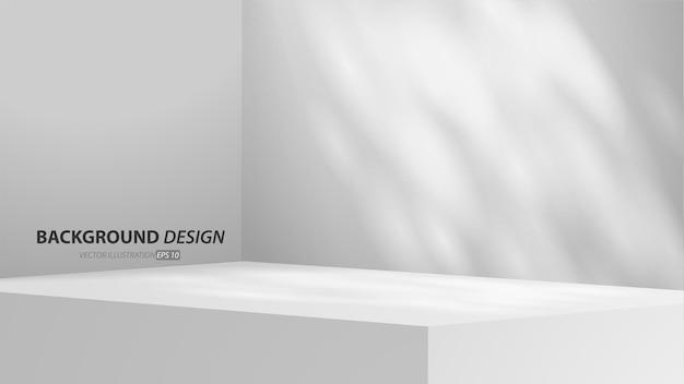 Stanza grigia vuota della tavola dello studio e backgound leggero. display del prodotto con spazio di copia per la visualizzazione del design dei contenuti. banner per pubblicizzare il prodotto sul sito web.