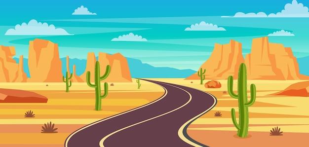 Strada vuota della strada principale nel deserto. Vettore Premium
