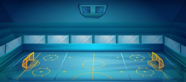 Campo di hockey vuoto nello stile del fumetto, illustrazione di vettore