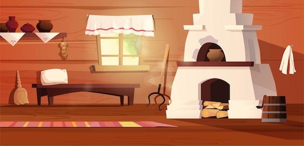 Interno vuoto della capanna russa. antica cucina russa con fornelli, pentole, panca, tappeto, scopa, impugnatura, finestra con tenda, moquette. illustrazione di cartone animato.