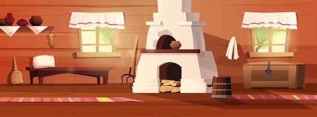 Interno vuoto della capanna russa. antica cucina russa con stufa