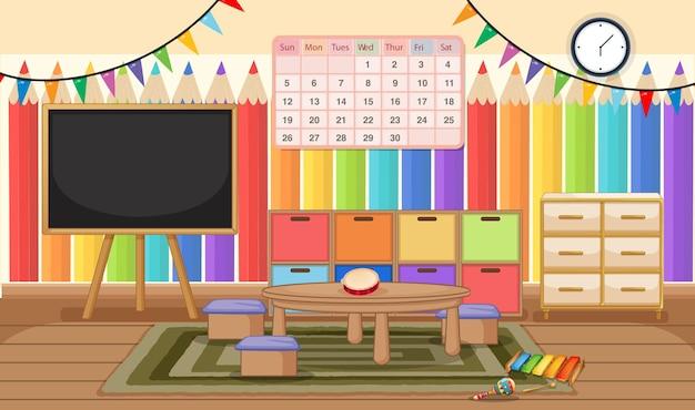 Stanza dell'asilo vuota con oggetti in classe e decorazioni d'interni