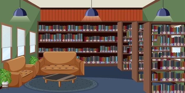Interior design della biblioteca vuota con scaffali