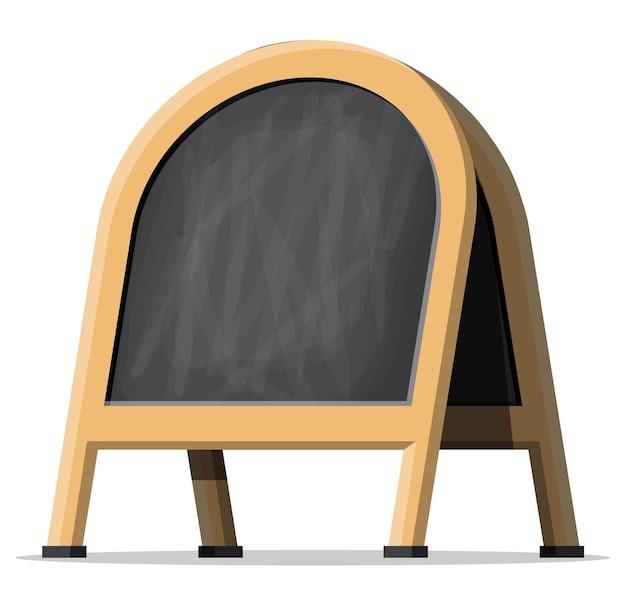 Bordo nero del menu vuoto. lavagna in legno per caffè. esposizione esterna vuota della lavagna del menu. segnaletica stradale pubblicitaria sul marciapiede. illustrazione vettoriale in stile piatto