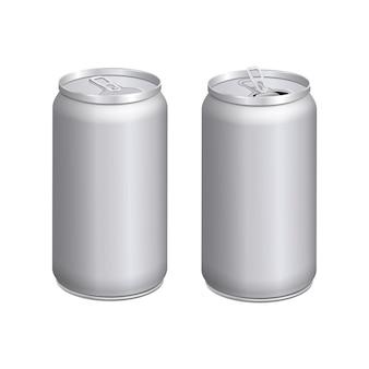Vuoti finti contenitori in alluminio realistici. lattine aperte e chiuse.