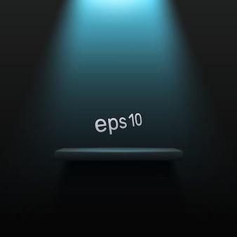 Svuoti il fondo moderno della luce scura con un podio acceso. spazio per pubblicizzare il tuo prodotto.