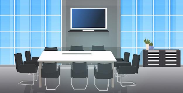 Svuotare nessun centro di coworking sala riunioni con tavolo rotondo circondato da sedie ufficio moderno interno