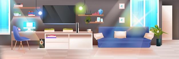 Vuoto nessun popolo scuro soggiorno interno casa moderna appartamento con mobili illustrazione vettoriale orizzontale