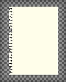 Pagina di quaderno vuoto con bordo strappato