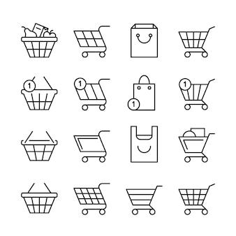 Svuoti i cestini della spesa online, icone del negozio di web della linea della scatola del mercato