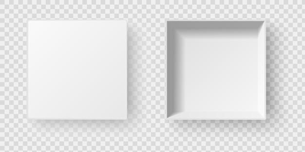 Scatola vuota quadrata bianca aperta con ombra