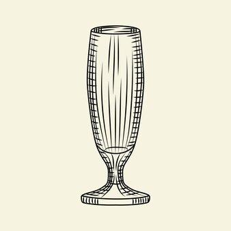 Pilsner vuoto bicchiere di birra isolato su sfondo chiaro. bicchiere da birra disegnato a mano. stile di incisione. per menù, cartoline, poster, stampe, packaging. illustrazione vettoriale di stile di schizzo