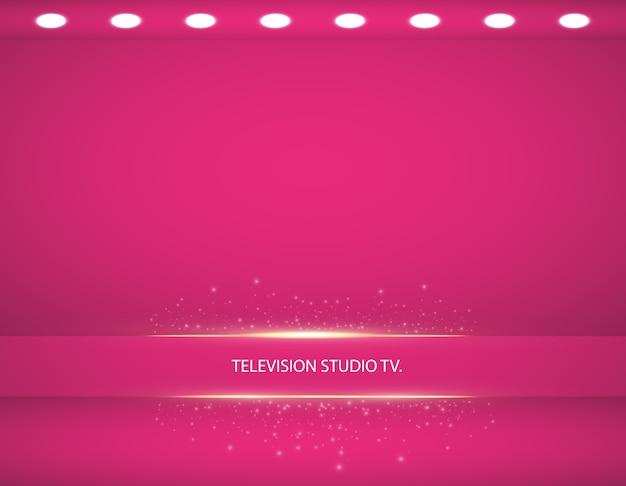 Vetrina vuota del prodotto di colore rosa. camera studio