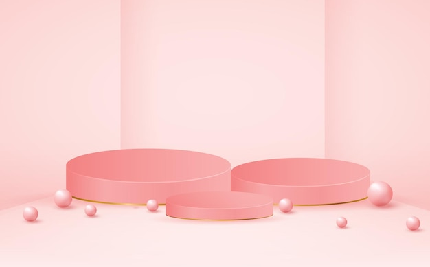 Modello di fase del prodotto podio rosa vuoto