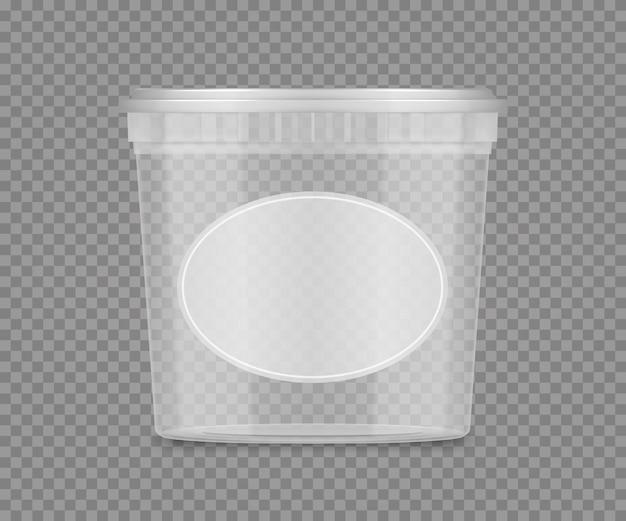 Modello di secchio trasparente di plastica vuoto con etichetta