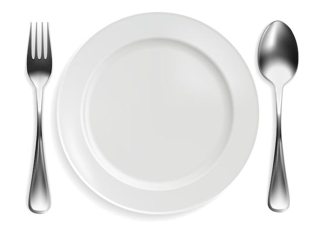 Piatto vuoto, forchetta e cucchiaio su sfondo bianco. disegno realistico. illustrazione vettoriale.