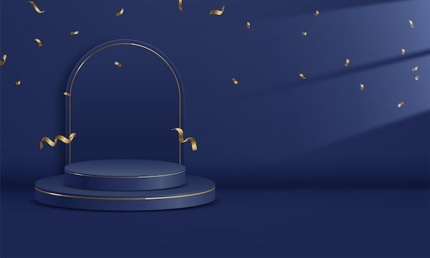 Fondo blu profondo dello studio vuoto del podio per l'esposizione del prodotto con lo spazio della copia