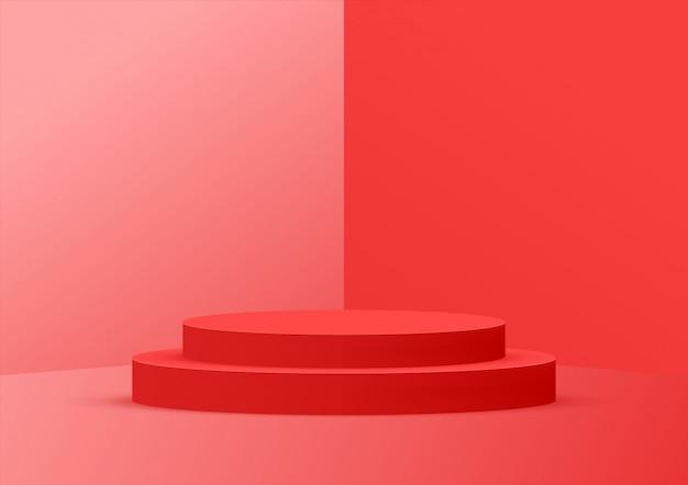 Rosso studio podio vuoto per la visualizzazione del prodotto