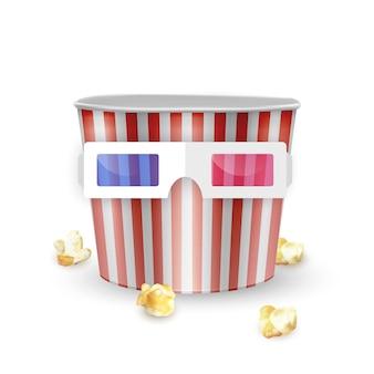 Secchio di popcorn vuoto e bicchieri su sfondo bianco, illustrazione realistica