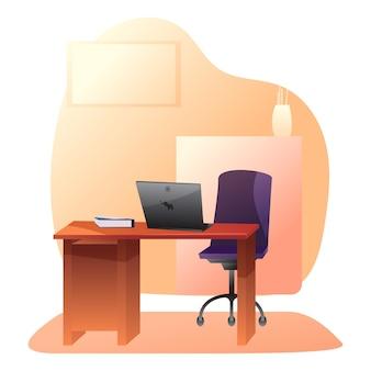 Illustrazione di ufficio privato vuoto, ceo, capo, posto di lavoro manager, scrivania con sedia, computer portatile sul tavolo.