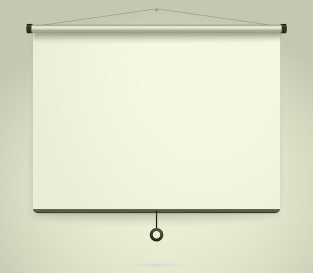 Schermo di proiezione vuoto, lavagna per presentazioni, lavagna vuota.