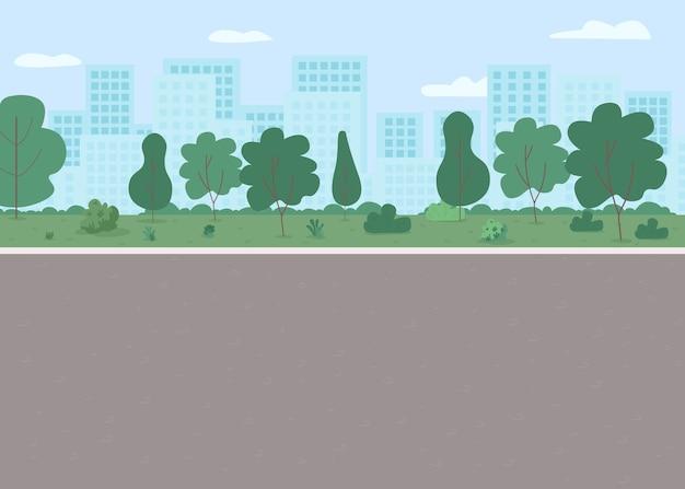 Illustrazione di colore piatto del parco pubblico vuoto strada senza persone strada di città con prato e alberi cortile della città per la ricreazione paesaggio urbano dei cartoni animati con grattacieli su
