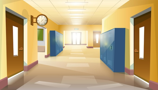 Corridoio scolastico vuoto alunni con porte e orologio sul muro.