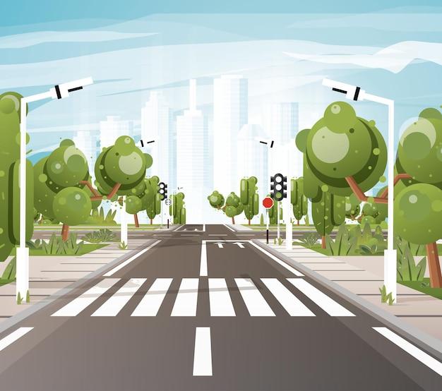 Strada vuota con strisce pedonali, segnaletica orizzontale, marciapiede per pedoni, alberi e semafori. illustrazione di vettore. paesaggio urbano. concetto urbano. orizzonte della città.