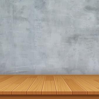 Stanza vuota con muro di cemento e pavimento in legno