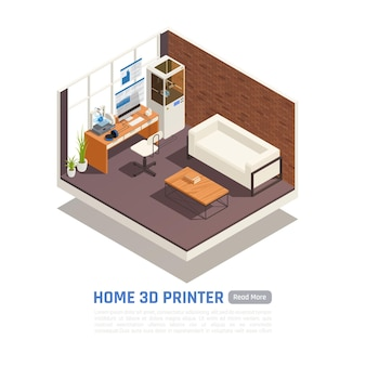 Stanza vuota con illustrazione della stampante 3d domestica