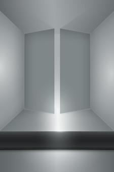 Stanza vuota con porte aperte e tavola scura sul pavimento