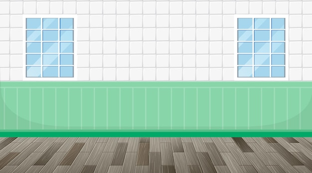 Stanza vuota con pavimento in parquet e pareti di piastrelle verdi bianche