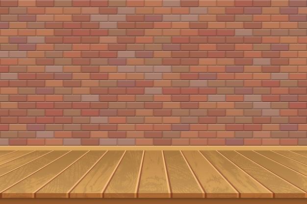 Stanza vuota con pavimento in legno e muro di mattoni
