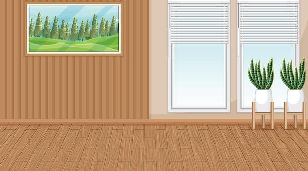 Stanza vuota con parete in legno e pavimento in parquet