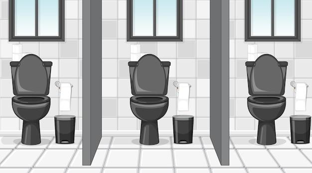 Scena vuota con bagno pubblico con cubicoli