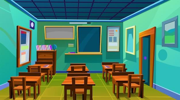 Illustrazione piana di vettore dello scrittorio interno del bordo della stanza della classe della scuola vuota
