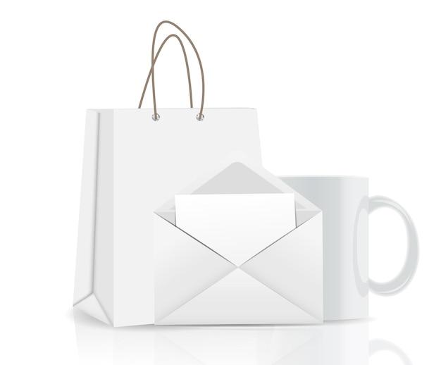Borsa della spesa vuota, busta e tazza per pubblicità e illustrazione vettoriale di branding