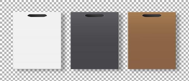 Set di sacchetti vuoti. imballaggio del sacchetto della spesa di carta. . modello . illustrazione realistica.