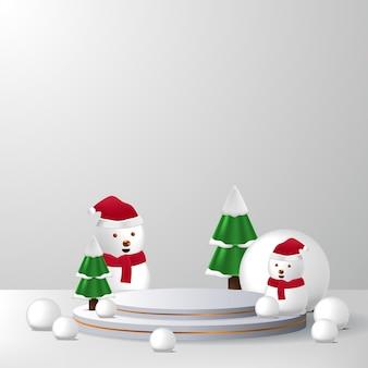 Esposizione del prodotto del podio del piedistallo del palco vuoto per natale o inverno con pupazzo di neve, pino, palla di neve e colore di sfondo bianco